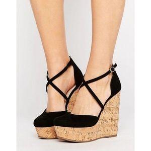 ASOS Orchard Black Cork Wedge Heel Sandals
